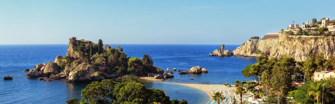 Panorama of Sicilian coast near Taormina and Isola Bella