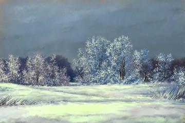 Winter landscape paintings, oil digital paint, trees