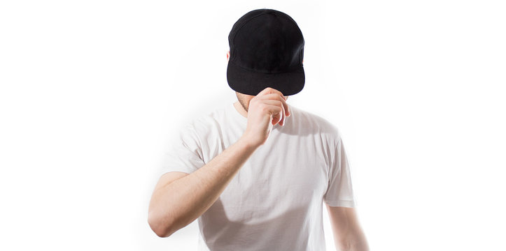 the man, in the blank black, baseball cap, snapback  on a white background, mock up