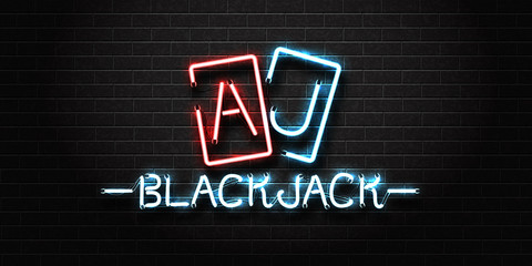 Vector realistic isolated neon sign for Blackjack lettering and playing cards for decoration and covering on the wall background. Concept of casino and gambling.