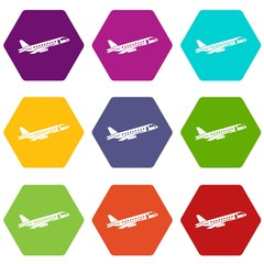 Airplane taking off icon set color hexahedron
