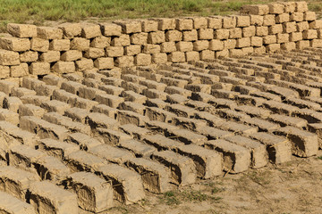 The bricks were made of clay and straw. ready bricks made of clay and straw dried on the street in the sun