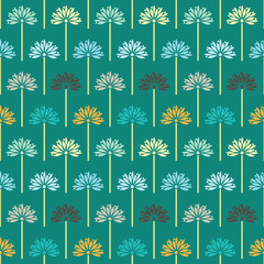 Cute blue green spring flowers seamless pattern vector illustration