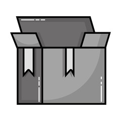 grayscale box package object open design