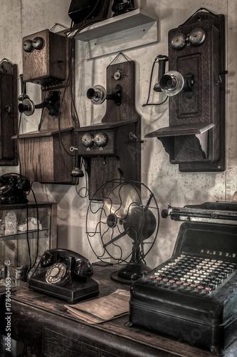 Old Telephones Displayed