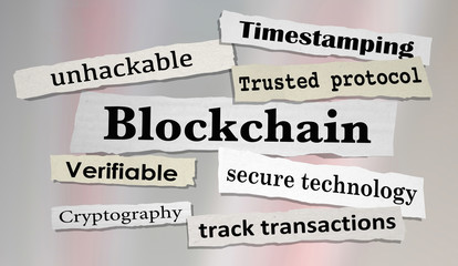 Blockchain Technology Secure Transactions News Headlines 3d Illustration