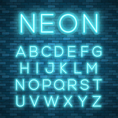 Realistic neon alphabet. Bright neon glowing font