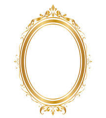 Oval frame and borders Golden frame on white background, Thai pattern, vector illustration