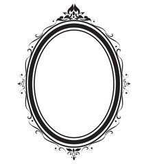Oval frame and borders black and white on white background, Thai pattern, vector illustration