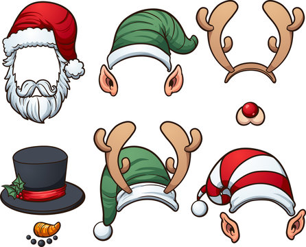 Christmas hats. Vector clip art illustration with simple gradients. Each item on a separate later.