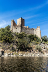 Castle of Almourol in Portugal, initiated the 12th century, located on a small islet in the middle of the Tagus River, served as a stronghold used during the Portuguese Reconquista.