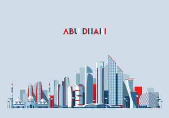 Fototapete - Abu Dhabi skyline Arab Emirates vector flat design