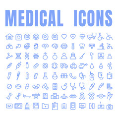 Medical blue icons used in hospital and signs like doctor, patient, ambulance, medicines, surgery and other signs inside and outside the hospital building etc. on white background