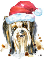 Watercolor Portrait Of Yorkshire Terrier Breed Dog with Santa hat