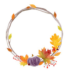 Watercolor autumn wreath with pumpkin,leaves and berries. Season hand drawn illustration for print,cards,posters.