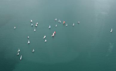 Luftaufnahme von Segelbooten auf dem Bodensee