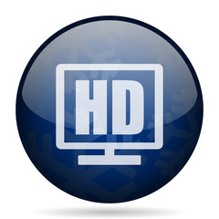 Hd display blue winter christmas design web icon. Round button for internet and mobile phone application designers.