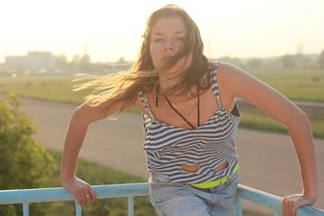 Summer Hippie girl portrait.