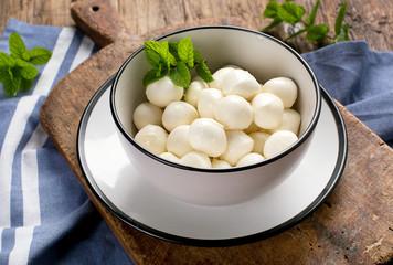 Bowl of small mozzarella balls