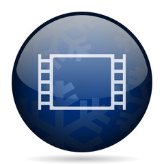 Movie blue winter christmas design web icon. Round button for internet and mobile phone application designers.