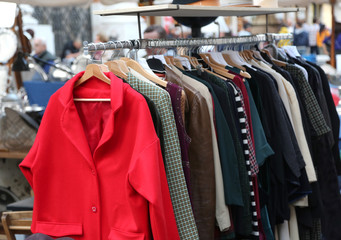 used clothes for sale in the flea market