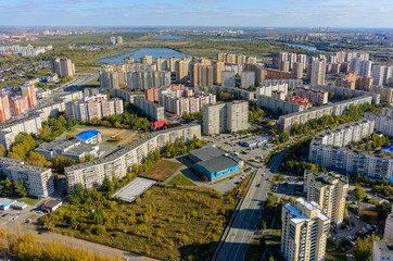 Tyumen, Russia - September 26, 2017: Aerial view onto 1st Zarechny residential district and Zdorovye fitness complex