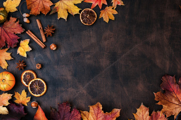 Canvas Prints Spices Autumn Background With Candied Oranges, Nuts and Spices