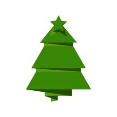 Creative Christmas tree card. Vector origami
