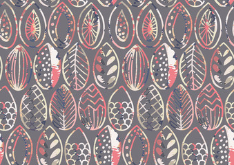 Hand drawn abstract leaves with grunge texture seamless pattern
