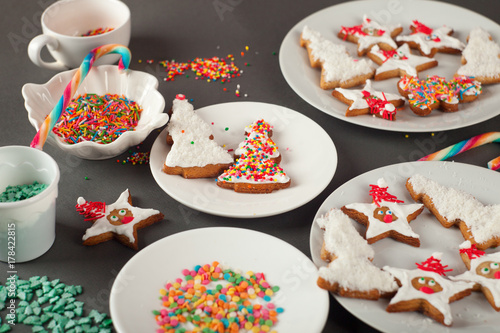 Creative Christmas Cookies On The White Plate Concept Of New Year