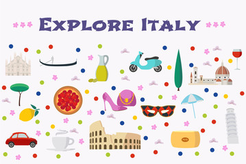 Italy vector illustration with Italian landmarks, food as background