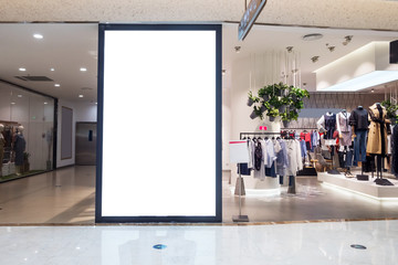 blank bulletin board in modern shopping mall