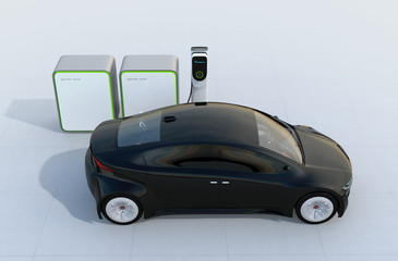 Electric car charging in charging station with battery groups. 3D rendering image.