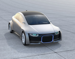 Silver self-driving car parking on the ground. Front grille with digital headlight. 3D rendering image.