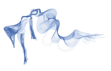 Abstract dancer, woman silhouette over white