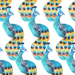 Watercolor seamless pattern with peacocks on the white background. Bright design for fabric or wrap paper.
