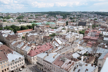 Lviv old city panoramic view