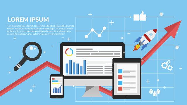 Digital marketing, analysis, flat banner concept eps 10 vector