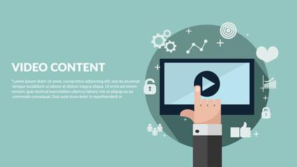 Video content media concept flat design vector eps 10