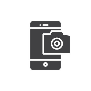 Mobile phone photography camera icon vector, filled flat sign, solid pictogram isolated on white. Smarthone camera symbol, logo illustration.
