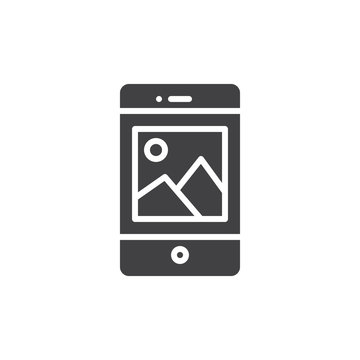 Smartphone with picture on display icon vector, filled flat sign, solid pictogram isolated on white. Mobile phone and photo symbol, logo illustration