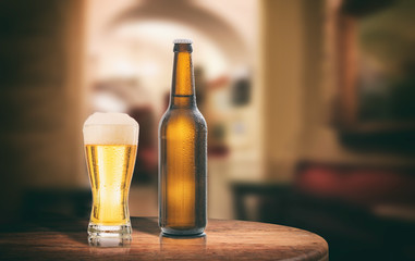 Beer bottle on a wooden table, abstract bar background. 3d illustration