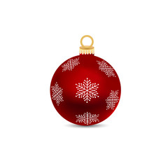 Deurstickers Bol Red Christmas ball on a white background