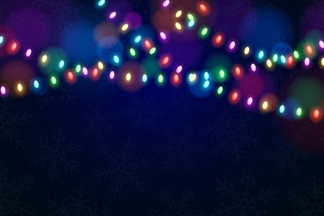 Christmas multicolored lights on a dark background. Snowflakes on the background. Celebratory background. Glowing garlands. Luminous oval light bulbs. Vector