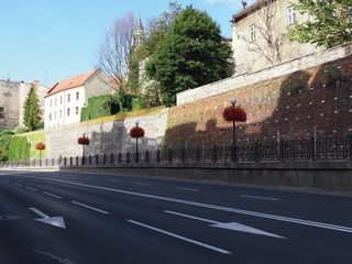 City walls and empty road in historical center of Bielsko-Biala in Poland