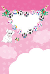 可愛い白い犬とサッカーボールのイラストのピンクのハート型写真フレームのポストカード