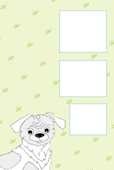 犬のイラストのうす緑の写真フレームのポストカード
