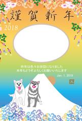 元気な犬と富士山と日の出のイラスト写真フレーム年賀状テンプレート 戌年