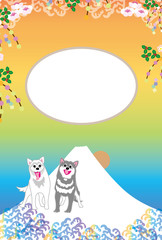 元気な犬と富士山と日の出のイラスト写真フレームのポストカード
