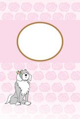 フェミニンな犬のイラストのピンクのバラの花柄の写真フレームのポストカード